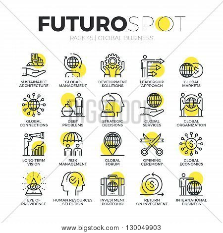 Global Business Futuro Spot Icons