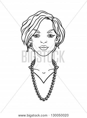 Stylish beautiful lady with jewelry. Vector illustration.