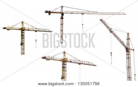 set of hoisting cranes isolate on white background
