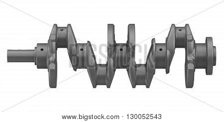 The crankshaft of the internal combustion engine. Isolated. 3D Illustration