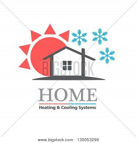 Heating & Cooling systems business icon vector template. Brand visualization template. Vector illustration symbolizing home cooling & heating climate control systems. Typography proposal. Sample text. Editable