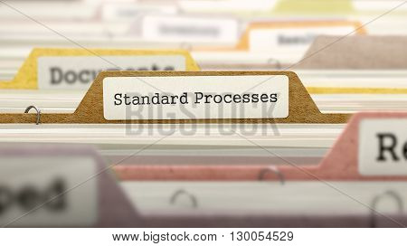 Standard Processes Concept on File Label in Multicolor Card Index. Closeup View. Selective Focus. 3D Render.