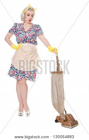 Retro Housewife, With Vintage Vacuum Cleaner, Isolated On White