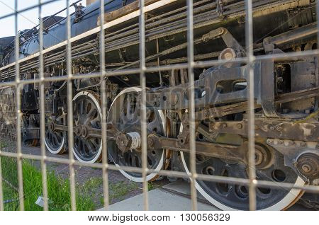 Old Train At The Roundhouse Park In Toronto