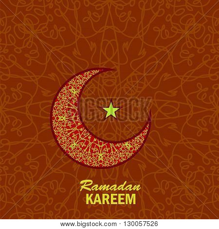 Ramadan Greetings Background. Ramadan Kareem Means Ramadan the Generous Month. Ramadan Greeting Card. Yellow Moon and Yellow Star on Red Ornamental Background