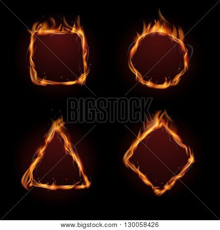 Hot fire flame frame vector set. Fire heat burn and inferno fire form illustration