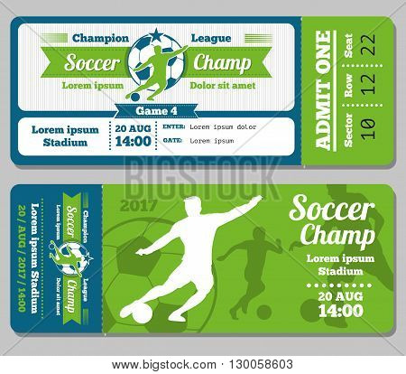 Football, soccer vector ticket template. Footbal ticket and soccer sport, ticket for game with ball illustration