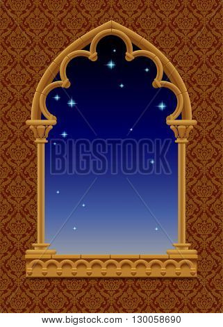 Classic frame in form of gothic decorative window with starry night sky on the ornamental background. Vintage frame, cover and poster. Vector Illustration