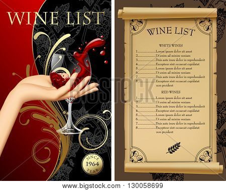 Wine list with hand holding a wineglass with splashed wine. Vintage menu template with old parchment and grapes. Vector illustration