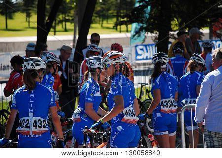 ANKARA/TURKEY-JULY 18, 2010 : Cyclist at the race of European Road Championships -Ankara 2010- (Between 15-18 July 2010) Junior Women Category. July 18, 2010-Ankara/Turkey