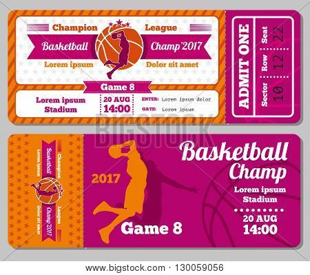 Modern basketball ticket vector template. Ticket for stadium to basketball play match. Competition tournament and basketball champ game illustration poster