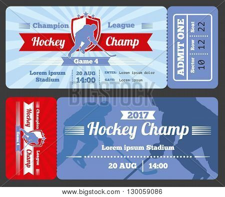 Hockey sports ticket card vector modern design. Tournament hockey ticket match championship hockey sport game illustration