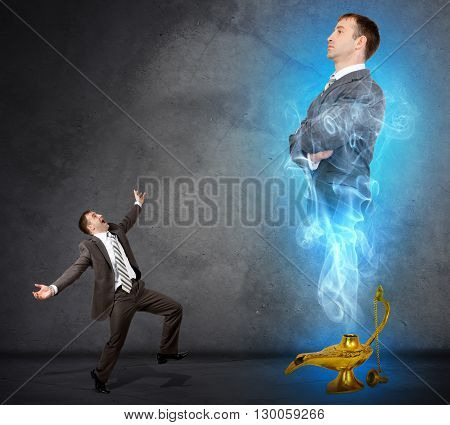 Genie business man appearing from magic lamp. Help, assistance urgent solution concept