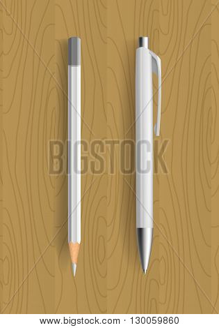 white pencil and pen on wooden table. Vector illustration. Pensil and pen realistic for idetity design.