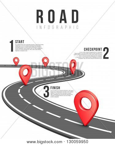 Road infographic vector template. Road information chart, creative traffic road infigraphic banner illustration