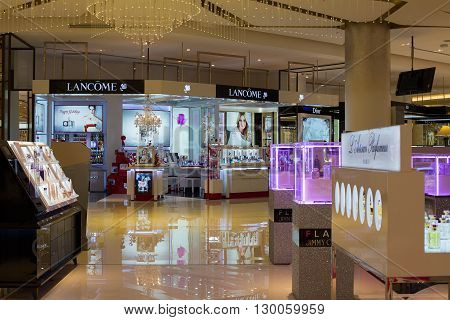 BANGKOKTHAILAND - NOVEMBER 19 2013 : Lancome shop in Siam Paragon Mall. With 300000 sq m of retail space Siam Paragon is one of the world's largest malls.