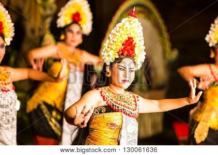 UBUD, BALI, INDONESIA - SEP 5, 2014: A traditional Balinese show in the centre of Ubud, Bali, Indonesia