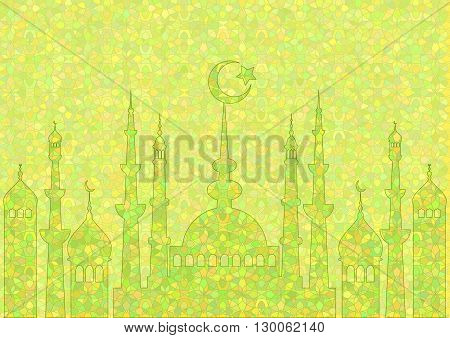 Green pattern with mosques on stained glass kaleidoscope backdrop for wishes with beginning of fasting month of Ramadan as well with Islamic holiday Eid al-Fitr and Eid al-Adha. Vector illustration