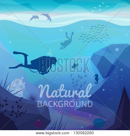 Underwater diving infographics natural background. Landscape of marine life - Island in the ocean and underwater world with different animals. Low polygon style flat illustrations