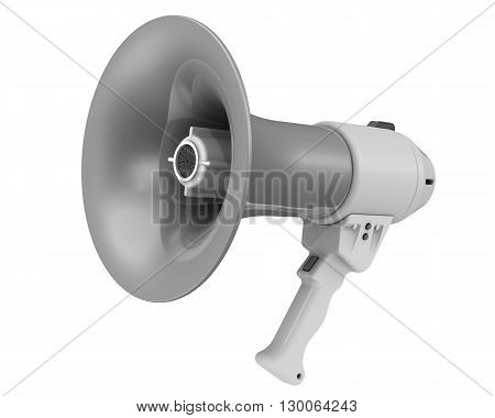 Gray megaphone (electric horn). Isolated. 3D Illustration