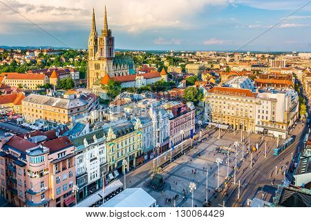 Aerial view at old city center and main square of capital of Croatia, Zagreb, Europe.