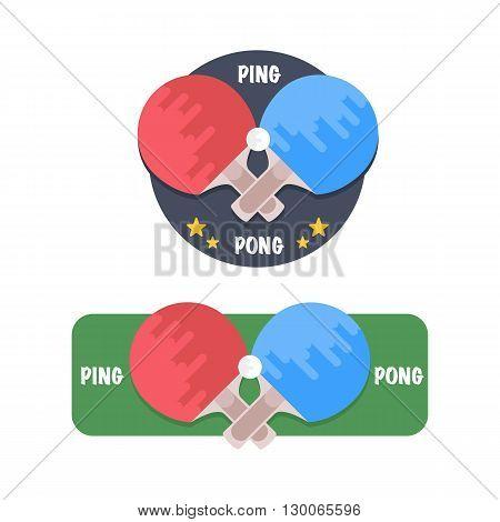 Ping-pong logo set. Ping-pong rackets and balls