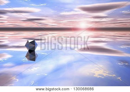 Futuristic geometric shape in a watery landscape at sunset