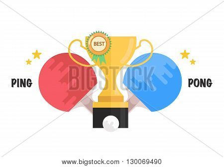 Ping-pong tournament. Ping-pong rackets, balls with Winner trophy cup