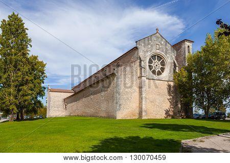 Santa Clara Church with the Rose or Catherine Window. 13th century Mendicant Gothic Architecture. Santarem, Portugal.
