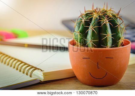 Beautiful cactus and blurred mix of office supplies on wooden table