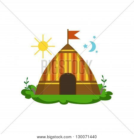 Camping Wigwam In Forest Flat Vector Icon In Cute Girly Style Isolated On White Background