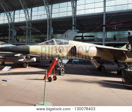 BRUSSELS-OCT. 10: An AMD BD Mirage F1C military jet fighter plane is seen in The Royal Museum of Armed Forces and Military History in Cinquantenaire Park in Brussels Belgium on Oct. 10 2015.