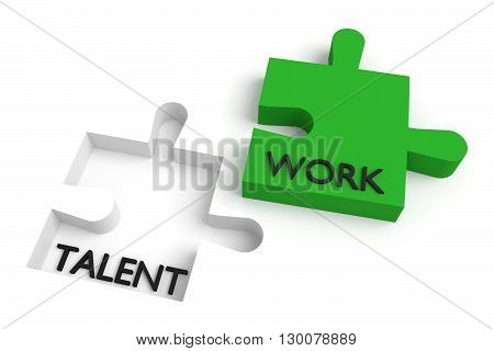 Missing puzzle piece talent and work green, 3d illustration