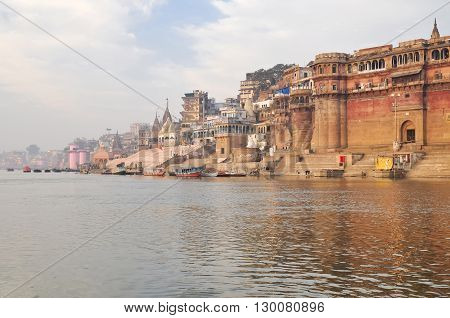 VARANASI INDIA - DECEMBER 27: beautiful view on city in the morning on December 27 2013 in Varanasi.