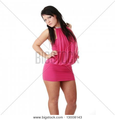 Young woman in sexy dress, isolated on white
