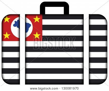 Flag Of Sao Paulo State. Suitcase Icon, Travel And Transportation Concept