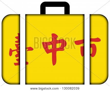 Flag Of Taichung, Taiwan. Suitcase Icon, Travel And Transportation Concept