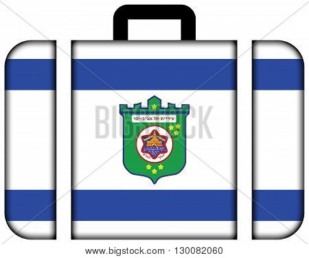 Flag Of Tel Aviv. Suitcase Icon, Travel And Transportation Concept