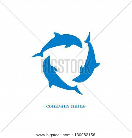Vector Blue Dolphins Silhouettes over white. Elements for oceanarium aquarium logo and other your designs. Dolphin Icon.