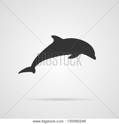 Vector Gray Silhouette of Dolphin. Element for World Environment Day and other animal and ecology projects logo web and app. Dolphin Icon.