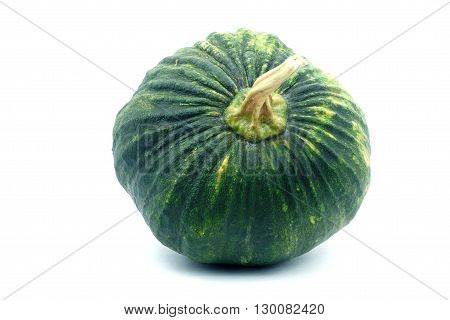 Green pumpkin on white background. Small green pumpkin on white background. object top view.