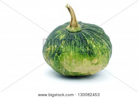 Green pumpkin on white background. Small green pumpkin on white background. object side view.