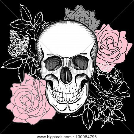 Human skull, rose skull, flower skull, tattoo skull, rose skull, wrapper skull, spooky skull, fashion skull, background skull, pattern skull. Vector.