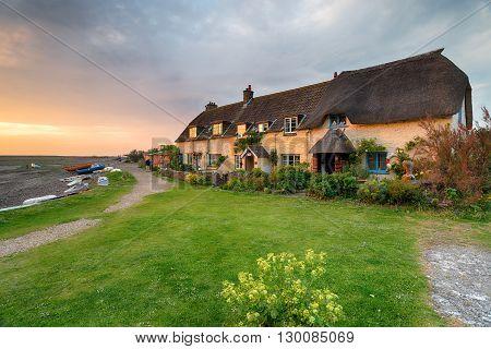 Pretty Cottages at Porlock Weir on Exmoor in Somerset