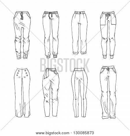 Hand drawn vector clothing set. Different models of trendy trousers.