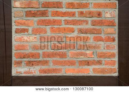 Prussian wall texture closeup. Red bricks and brown wooden beams.