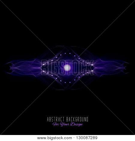 Abstract vector background. Futuristic style card. Abstract alien organism or cell. Black and purple color