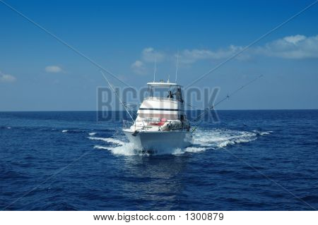 sport fishing boat ready for game fishing poster