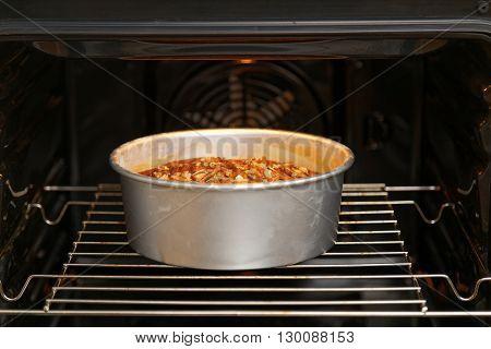 Homemade Pie In Open Oven