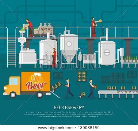 Brewery And Beer Set.Brewery And Beer  Poster. Brewery Flat Illustration. Brewery And Beer Vector.Brewery And Beer  Information.